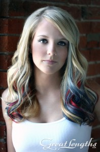 Curls with Light Multi-Colored Extensions